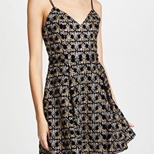 Alice + Olivia Black Metallic Gold Damask Dress